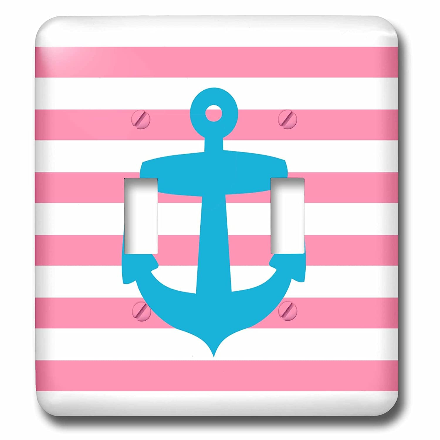 3dRose lsp_57473_2 Nautical Light Blue Anchor with Coral Red Or Pink Sailor Stripes Pattern French Breton Stripe Double Toggle Switch