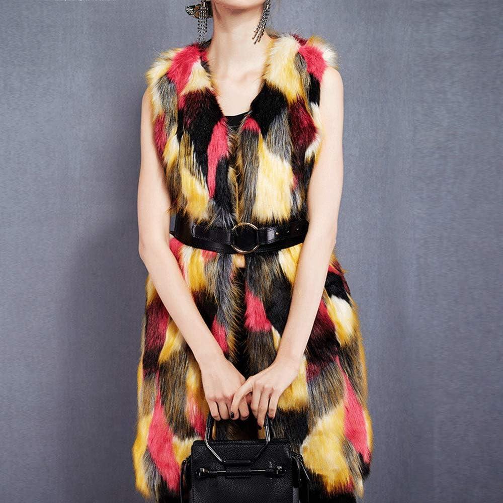 HIENAJ Womens Collarless Outerwear Vest Coat Faux Fur Sleeveless Winter Jacket