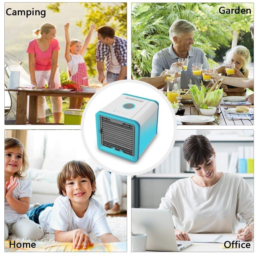 Sin Fre/ón 3en1 Mini Ventilador Humidificador Purificador de Aire Personal USB Climatizador Port/átil para Casa//Oficina GESUNDHOME Aire Acondicionado M/óvil Gris