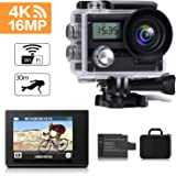 FITFORT Action Camera 4K 16MP Wi-Fi Ultra HD Waterproof Sport Camera 170 Degree 2 Inch LCD Screen Remote Control 2Pcs Batteries 19 Accessories, Black