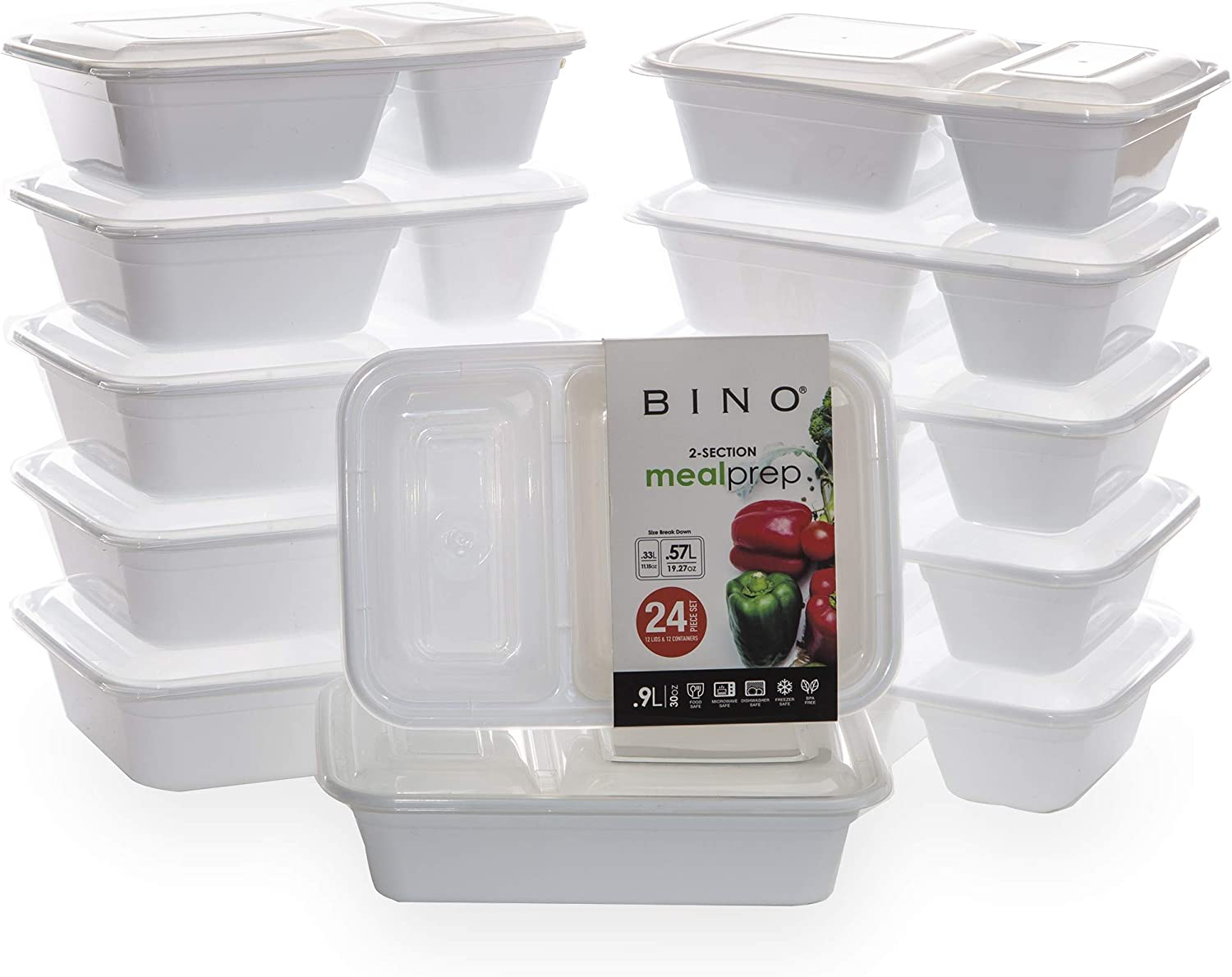 BINO Meal Prep Containers with Lids - 2 Compartment /30 oz [12-Pack], White - Bento Box Lunch Containers for Adults Food Containers Meal Prep Food Prep Containers Set