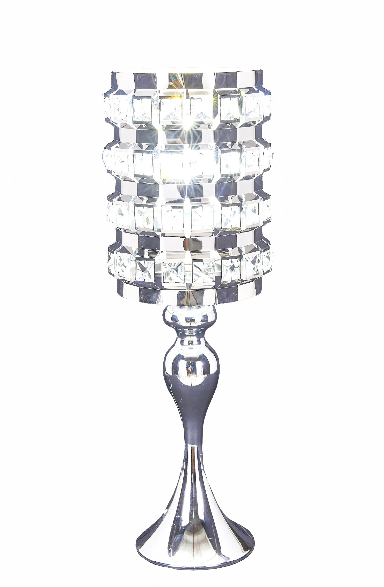 SwanHouse Crystal Chandelier Silver Modern Classic Table Lamp BSH-KOQ-W7xH19
