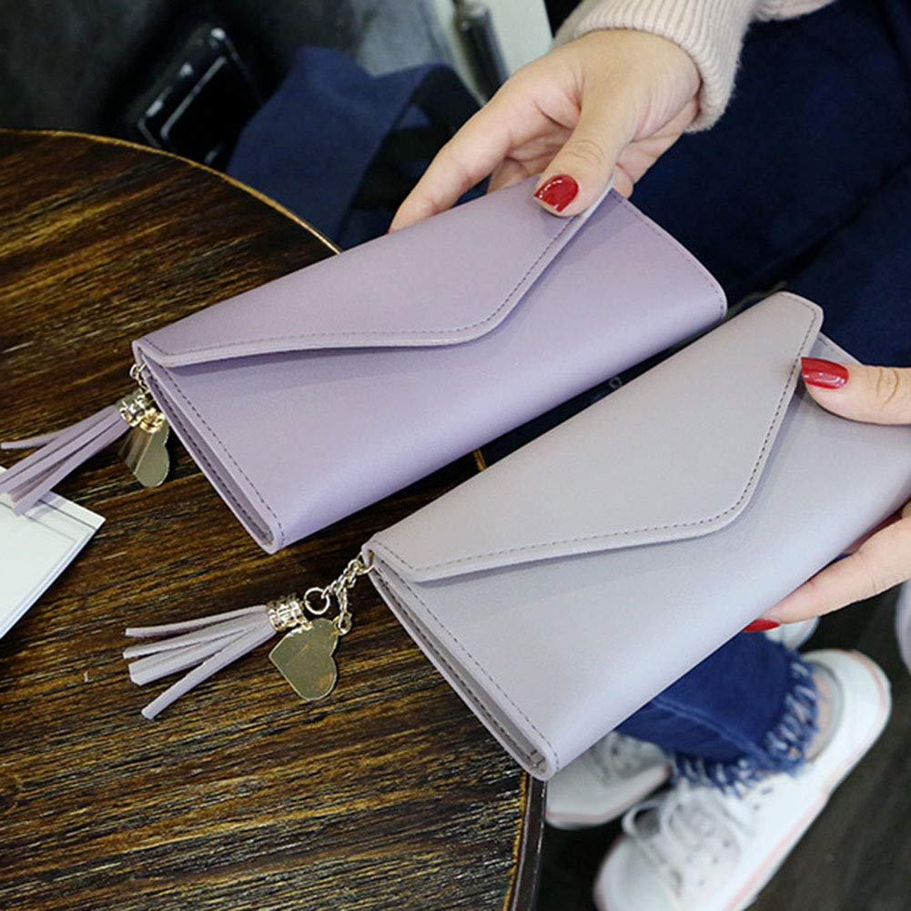 Aland Solid Color Faux Leather Women Long Purse Card Cash Holder Envelope Clutch Bag Purple by Aland (Image #3)