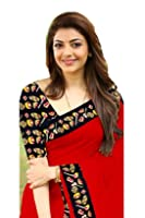 Rajeshwar Fashion Women's Cotton Saree With Blouse Piece (Tabla Red_Red)