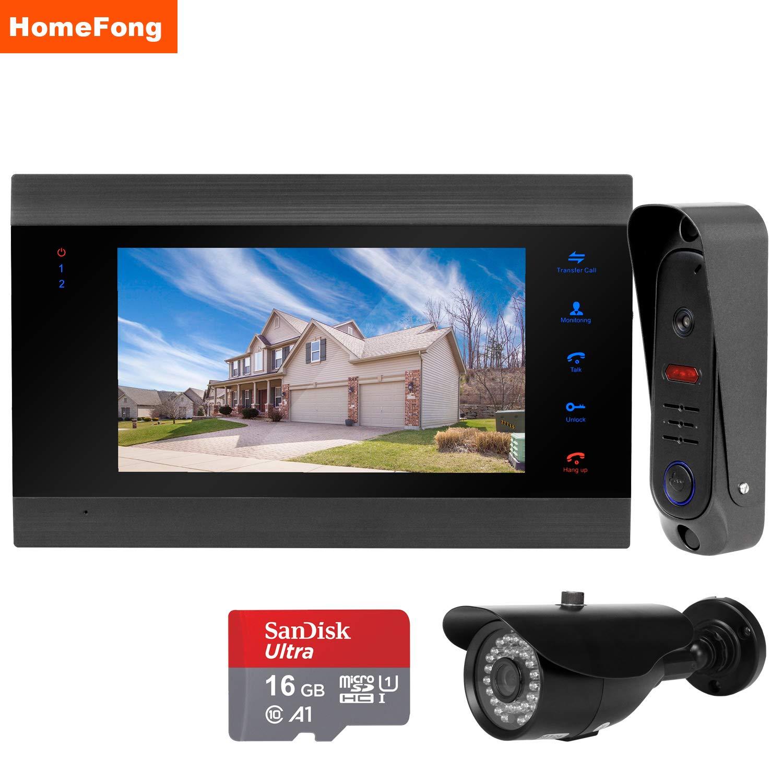 HomeFongビデオドアベル、HDカメラ防水ビデオドアホンインターホンキット B07PG6HPMV、カメラ+モニター+ 7インチディスプレイパネルIRナイトビジョンカメラドアベルインターホン、ビデオインターホンドアベルホームセキュリティシステム B07PG6HPMV, 西津軽郡:fa90c38a --- kapapa.site