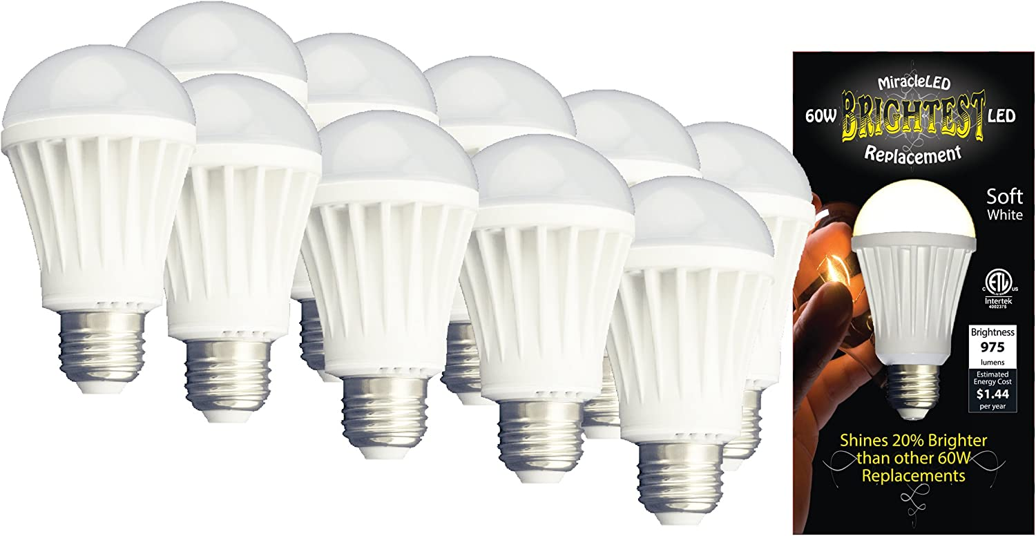 MiracleLED 604755 LED Replacement 12-watt ETL Certified 975 Lumen A19 Household Bulb 10 Pack Soft White