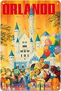 Pacifica Island Art Orlando - Florida, USA - Walt Disney World Resort - National Airlines - Vintage Airline Travel Poster by Bill Simon c.1970s - 8in x 12in Vintage Metal Tin Sign