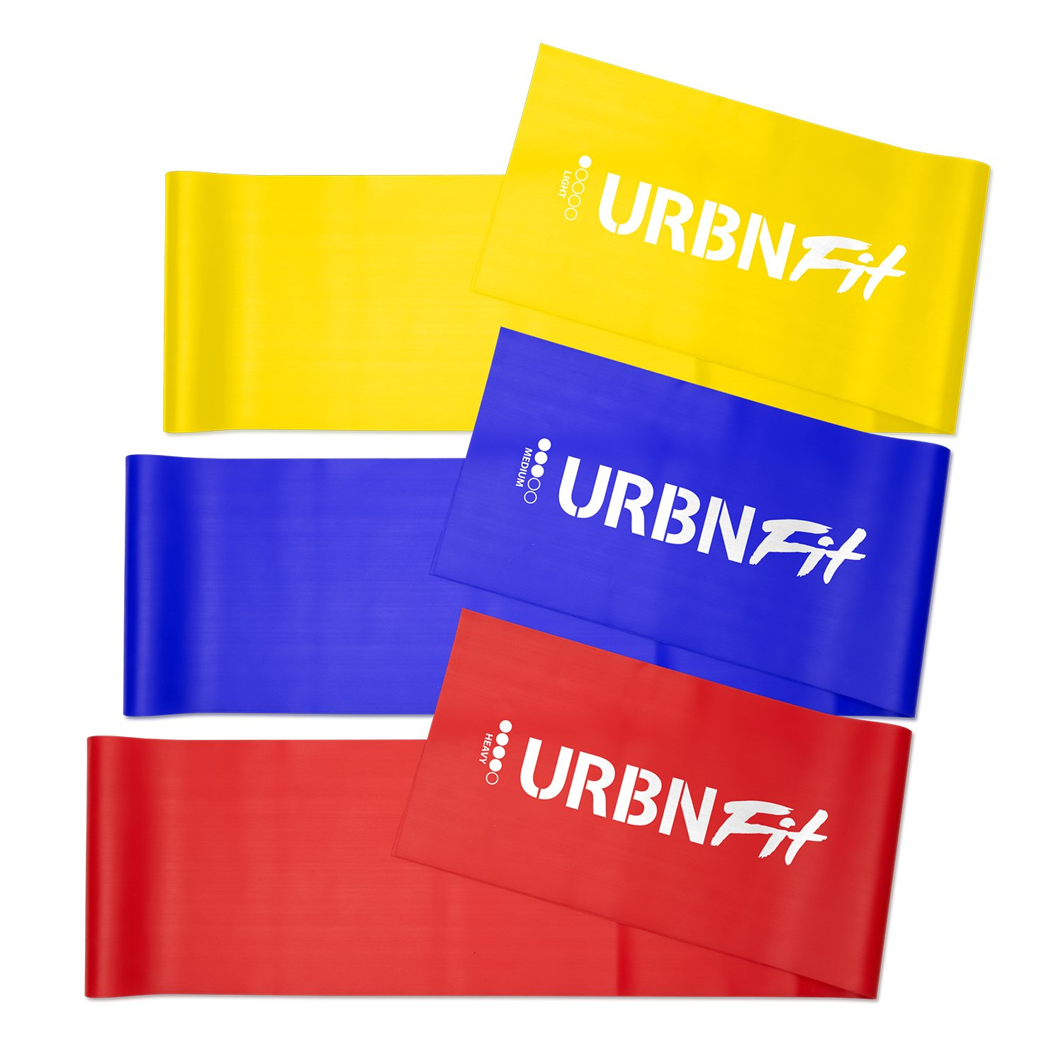 3 Pack of Resistance Bands for Stretching Workouts 5 Ft Rehabilitation w//Door Anchor URBNFit Long Fitness Bands