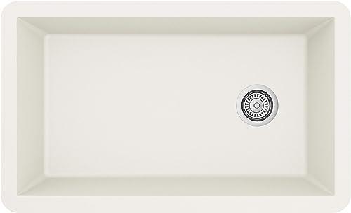 Karran Undermount Quartz Composite 32 in. Single Bowl Kitchen Sink in White