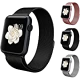 アップルウォッチ バンド Apple watchベルト マグネット 式 ミラネーゼループ BRG ステンレス 留め金製 メッシュ ベルト (42mm, ブラック)