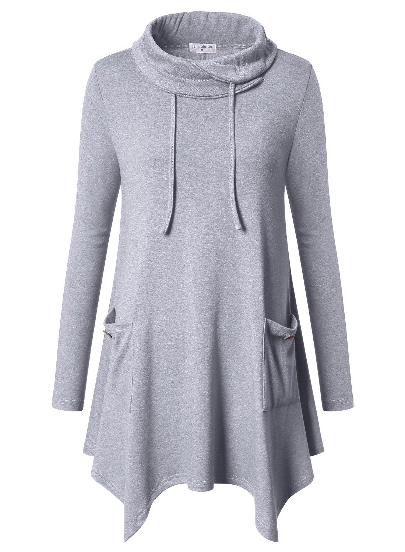 Bulotus Women's Long Sleeve Cowl Neck Asymmetrical Aline Tunic Top Blouse,Light Grey,Large