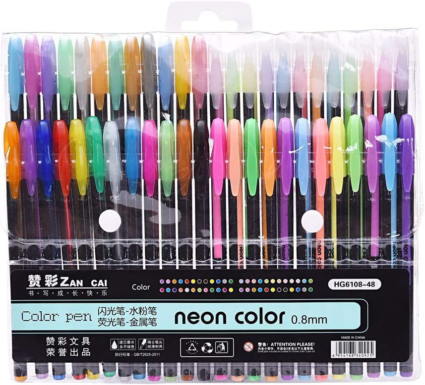 Drawing,Great Back to School Gift,Teen Girls Gift Ideas 48PCS Glitter Gel Pen Set,Refills Markers Watercolor Gel Pen Replace Supplies,for Adult Coloring Books Multicolor