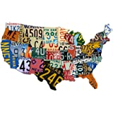 "Plasma Cut Steel USA License Plate Map (35"" x 24"") Sign Metal Sign Home Decor Wall Art Garage Art Great Gift Man Cave Plasma Cut Steel Sublimated Rustic Sign Birthday Gift Patriotic Sign Holiday Gift"
