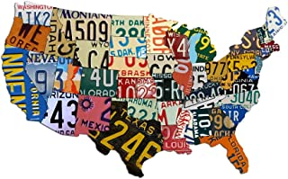 "product image for Metal USA Sign Dibond Aluminum USA License Plate Map (35"" x 24"") Sign Metal Sign Home Decor Wall Art Garage Art Great Gift UV Printed Rustic Sign Birthday Gift Patriotic Sign - Not Real License Plates"