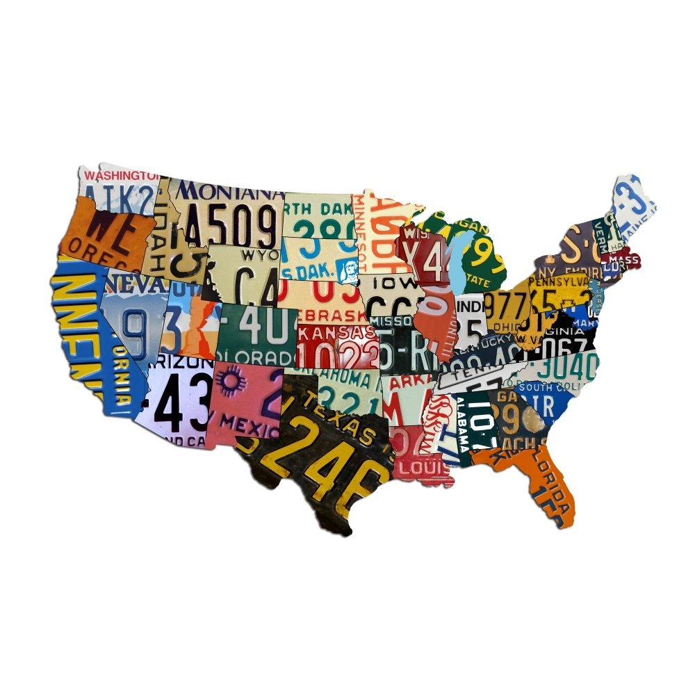 Amazon.com: Plasma Cut Steel USA License Plate Map (35\