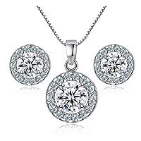 TaoNaisi New 925Sterling Silber Kristall Hochzeit Halskette Ohrring Schmuck Set Charme Frauen