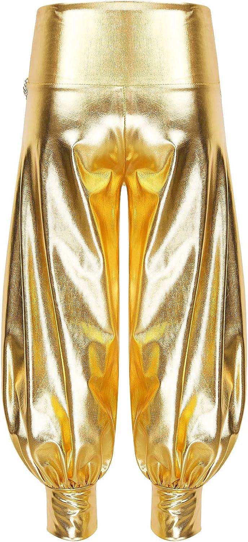 Freebily Pantaloni Bambina Invernali Metallico Hippie Harem Pants Bambini da Danza Moderna Jazz Hip Hop Larghi Pantaloni Vita Alta con Catena Dancewear Aladin Pants