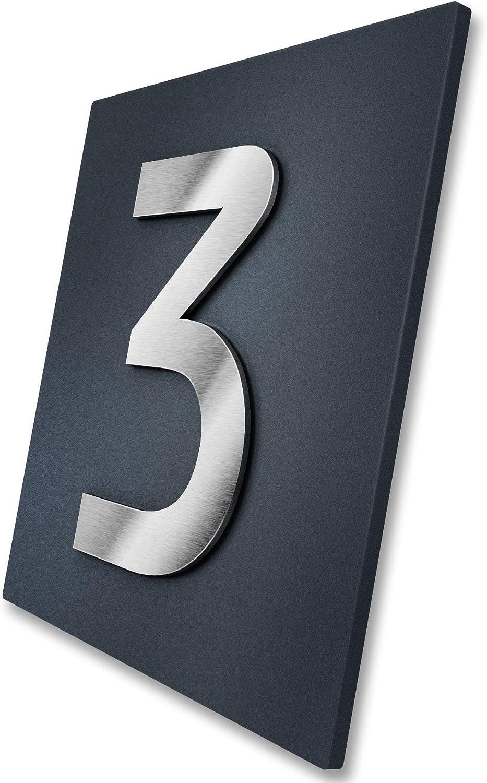 - rostfreie und witterungsbest/ändige Materialien Hausnummer 3-stellig in Anthrazit mit 3D Effekt Befestigungsmaterial w/ählbar Ma/ße RAL 7016 Edelstahl-Schild mit Hausnummer