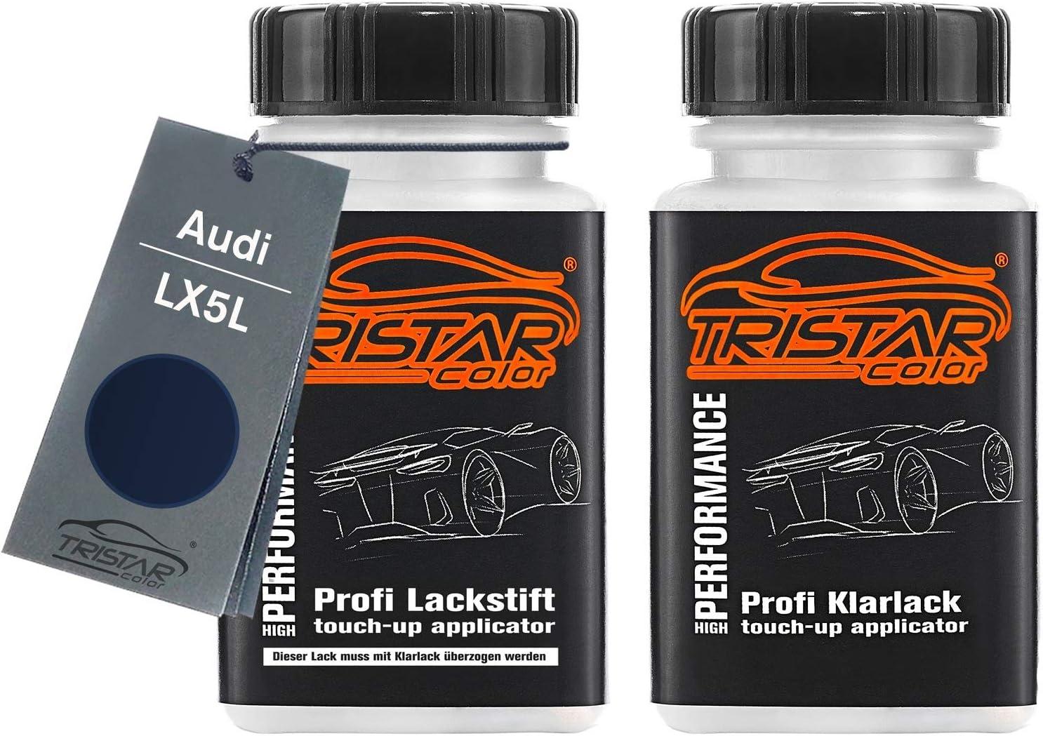 Tristarcolor Autolack Lackstift Set Für Audi Lx5l Utopiablau Metallic Basislack Klarlack Je 50ml Auto