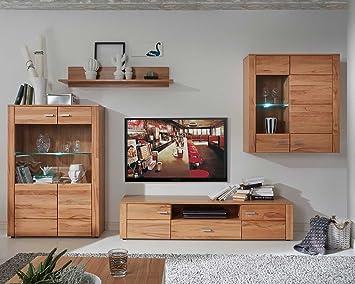 Wohnwand Anbauwand Wohnzimmerschrank 4 Tlg. DEAN | Kernbuche | Massiv Geölt  | LED