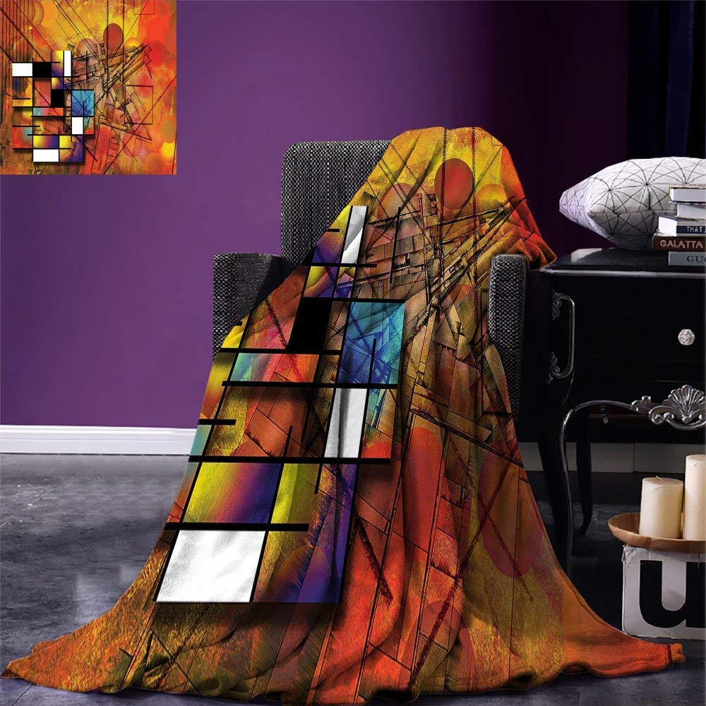 color06 60 x36  VAMIX Modern Warm Microfiber All Season Blanket Geometric Retro Design Background with Paisley Figures Spots Like Artwork Print Print Artwork Image£¬Multicolor, Multicolor, Blanket