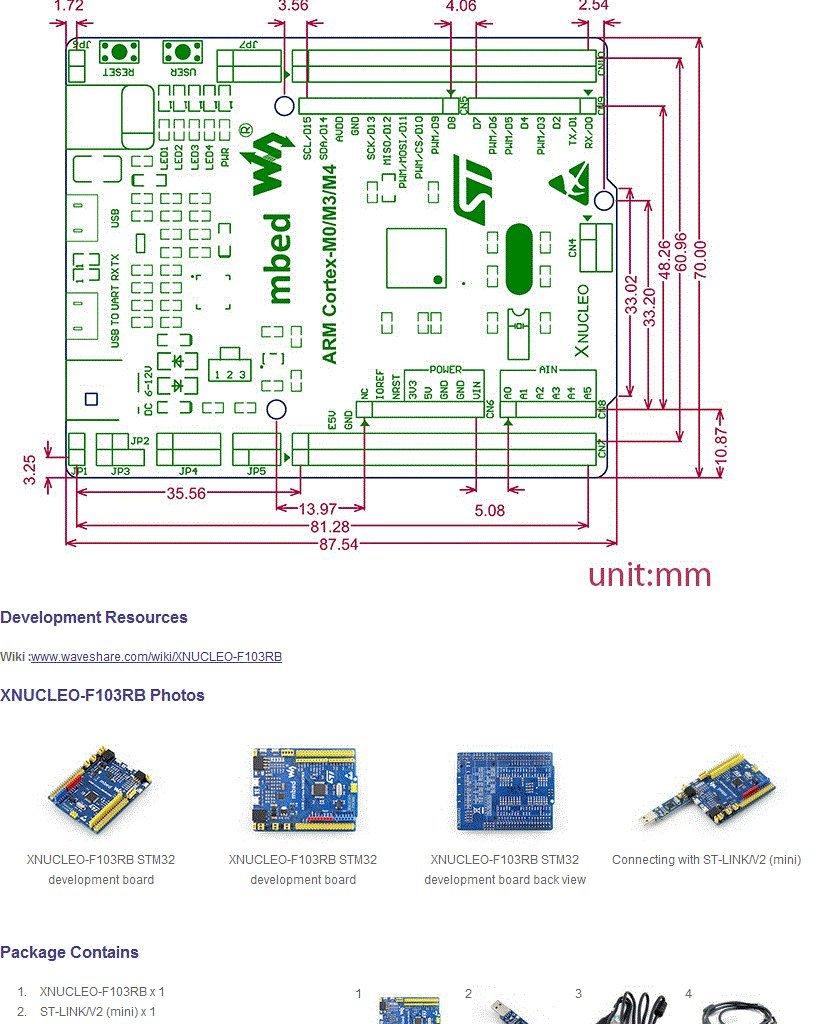 Wavesahre STM32 Board XNUCLEO-F103RB STM32F103RBT6 Cortex-M3 ... on