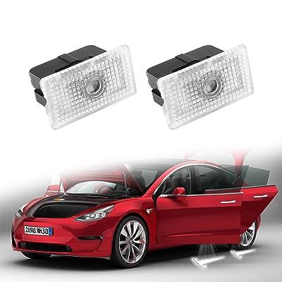 Motrobe Tesla model 3 model Y Ultra-Bright Step LED Puddle Door Lights Car Logo Projector Welcome Light, Gen 2: Automotive [5Bkhe2013216]