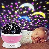 Glückluz Proyector Lampara de Estrellas de 360 Grados Romántica Cosmos Luna de Luz Nocturna Dormitorio para Niños Bebés Regalos de la Navidad los Amantes Lámpara de Proyección Azul [Clase de eficiencia energética A+++]