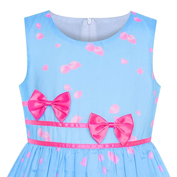 68e076a7209 Amazon.com  Sunny Fashion Girls Dress Rose Flower Double Bow Tie Party  Sundress  Clothing