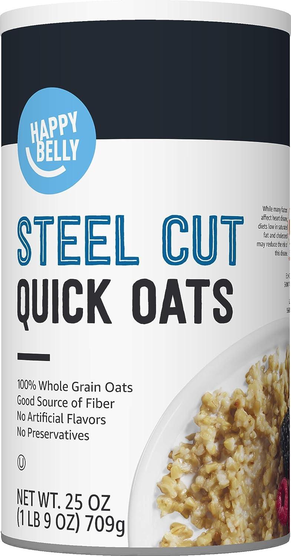 Amazon Brand - Happy Belly Steel Cut Oats, 25 Ounce