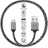 iVoltaa Pixie Micro USB to USB Premium Nylon Braided (1 Meter/ 3.3 Feet) Cable - With Quick Charging (2.4 Amp) and High Speed Data Sync (Sith Grey)
