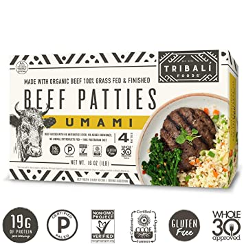 TRIBALÍ Foods Organic Patties, 4-Pack, Umami Beef (16 Patties)