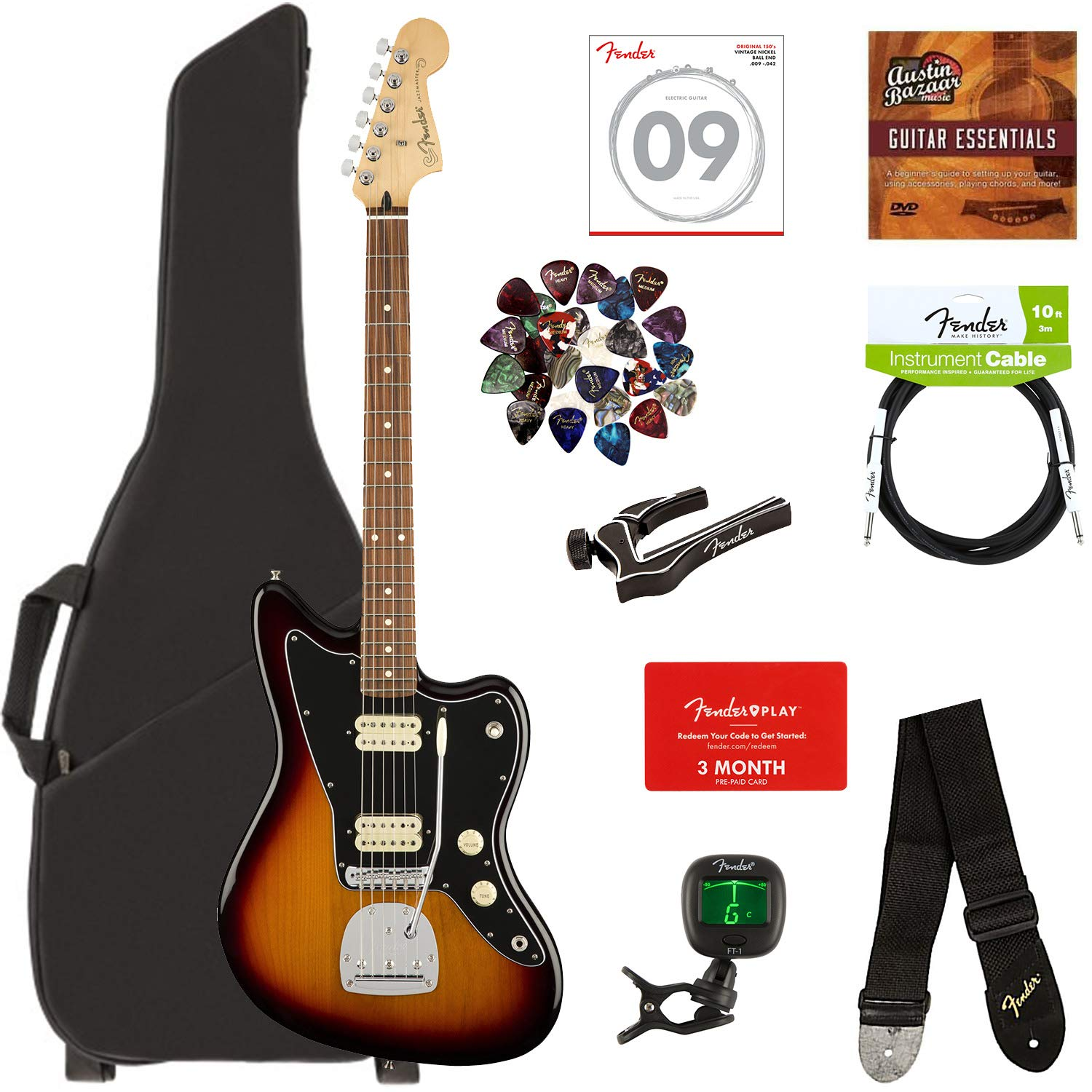 Fender Player Jazzmaster, Pau Ferro - 3-Color Sunburst Bundle with Gig Bag,  Stand, Cable, Tuner, Strap, Strings, Picks, Capo, Fender Play Online