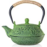 Cast Iron Teapot, Sotya Tetsubin Japanese Tea Kettle (700ml, Green)
