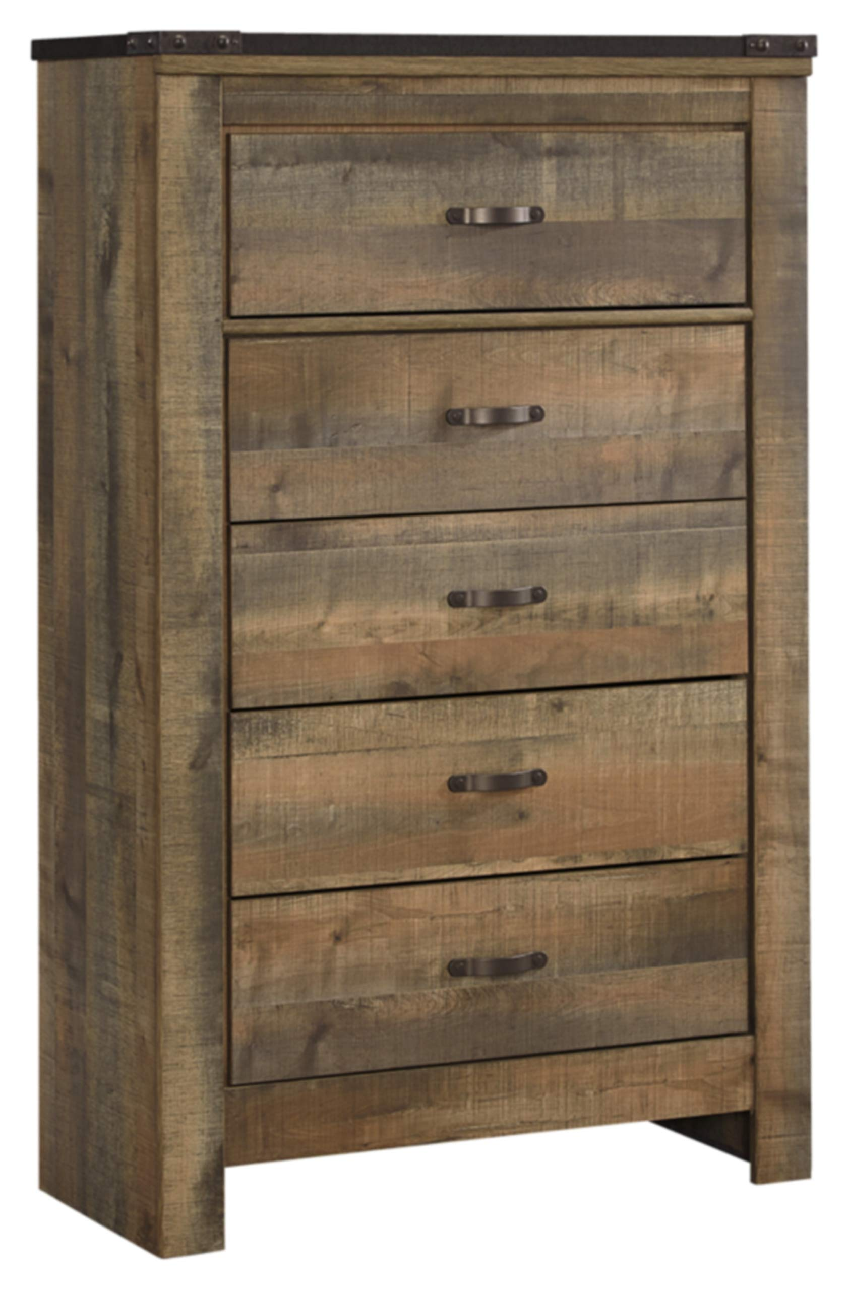 Ashley Furniture Signature Design - Trinell Chest - 5 Drawers - Nailhead Accents - Rustic Brown Finish - Antiqued Bronze Hardware by Signature Design by Ashley