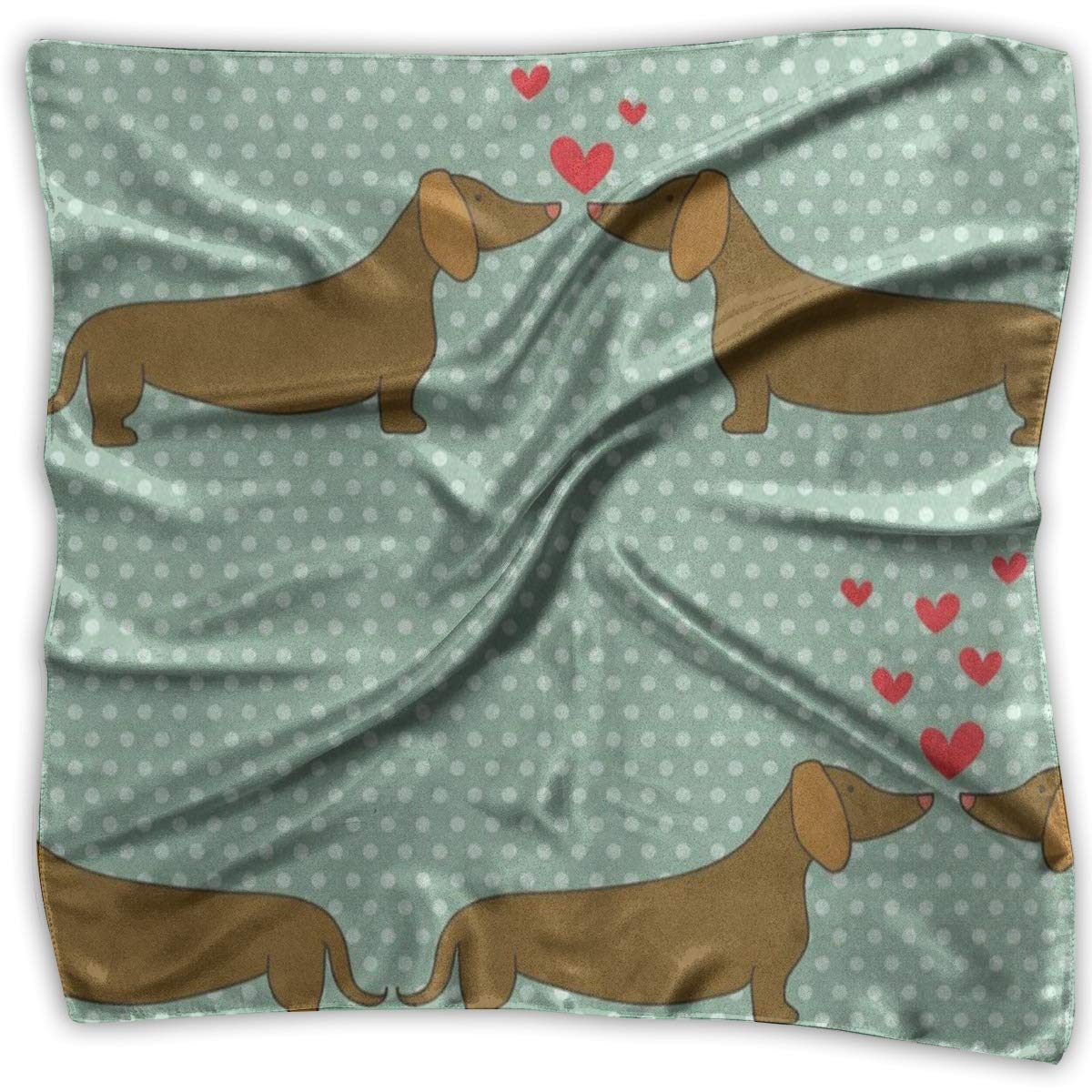 Square Scarf Puppy Dachshund Polka Dot Headband Unisex Muffler Tie For Women