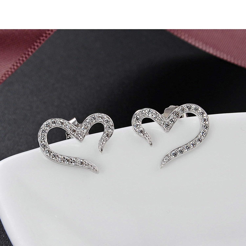 Knsam Stud Earrings Women Silver Heart Round Cz Silver Earring 1.28Cm WomenS Earrings Hoops