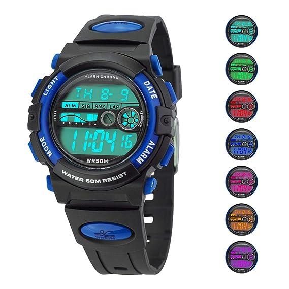 CLOOKER - Reloj Digital para niños con 7 Colores, Resistente al Agua, 30 m, Alarma para Reloj Deportivo para niños: Amazon.es: Relojes