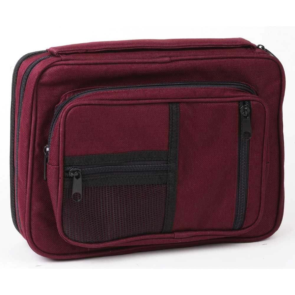 Burgundy Zipper Pocket 7.5 x 11 inch Reinforced Canvas Bible Cover Case with Handle
