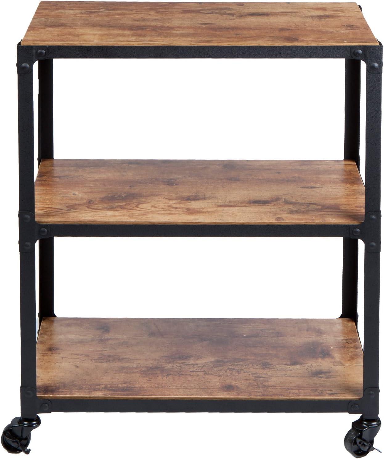 Mind Reader Charm 3 Tier Wood/Metal Untility Cart, Black/Brown: Home & Kitchen