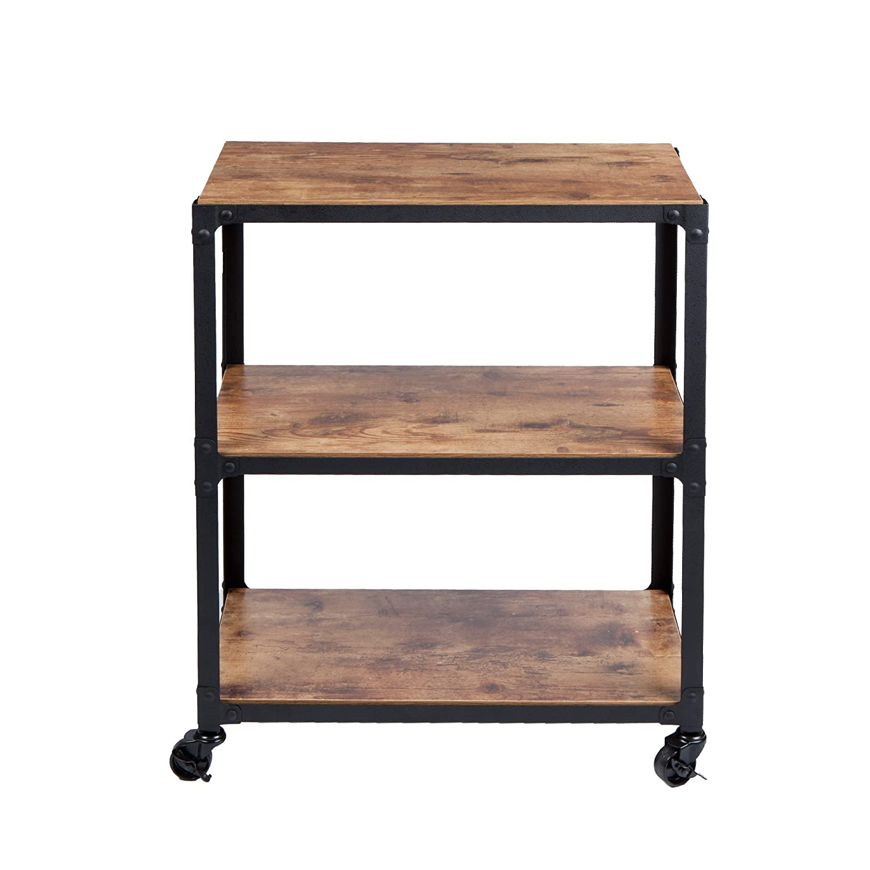 Mind Reader Charm 3 Tier Wood/Metal Untility Cart, Black