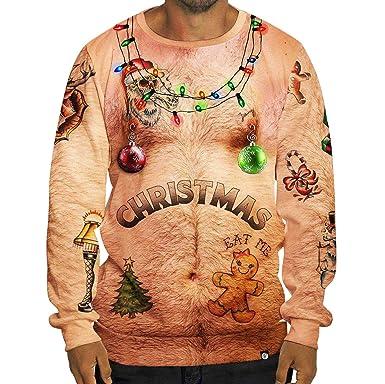82e8408b2ccc6 Pull de Noel Homme Sweat Shirt Moche Pulls de Noël Lumineux Drole Sweat Col  Rond sans