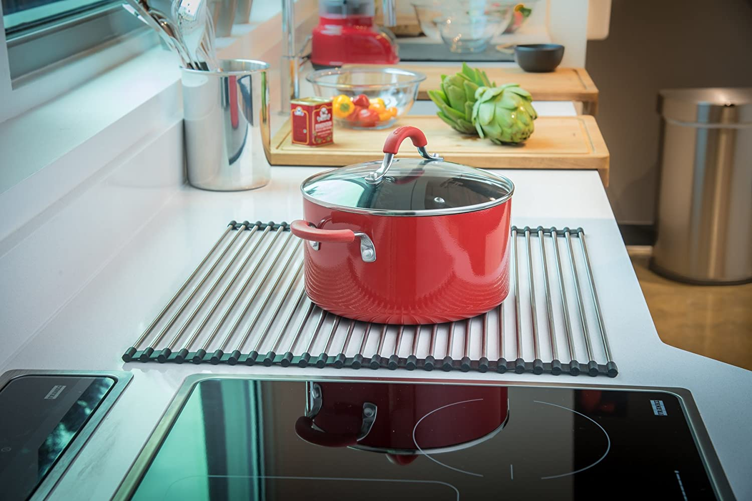 Kindred 17-Inch x 14-Inch Universal Kitchen Sink Stainless Steel Roller Mat FRM100 Dish Drying Rack or Trivet