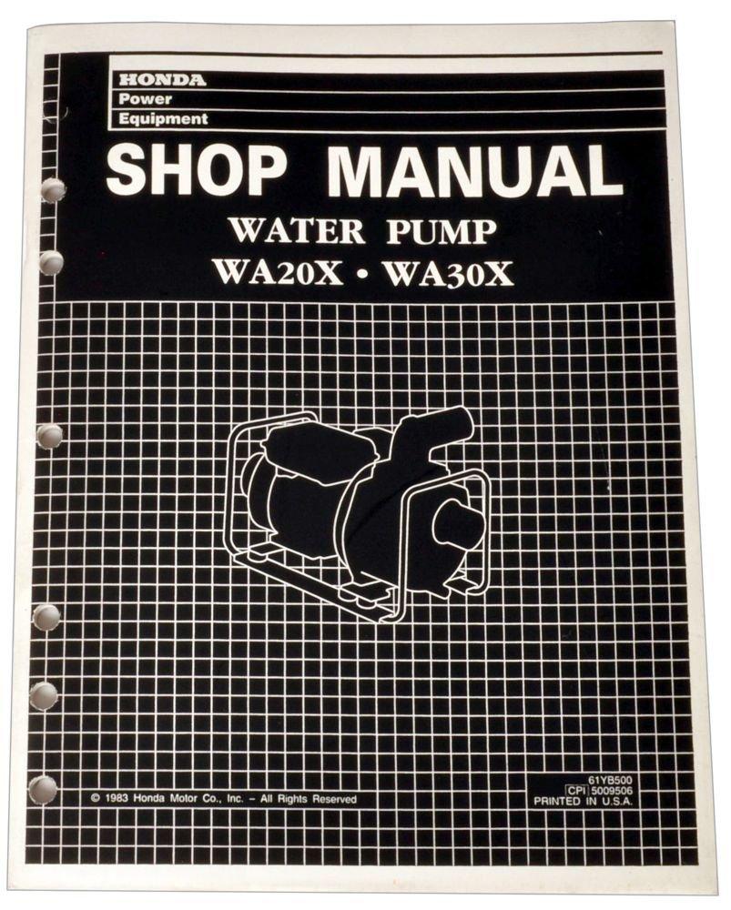 Honda WA20 WA30 WA20X WA30X Pump Service Repair Shop Manual