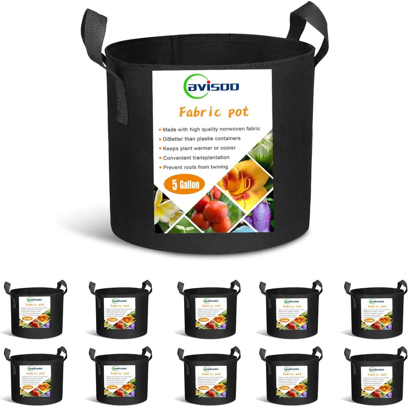 Cavisoo 10-Pack 5 Gallon Plant Grow Bags, Heavy Duty 300G Thickened Non-Woven Aeration Fabric Pots with Reinforced Handles