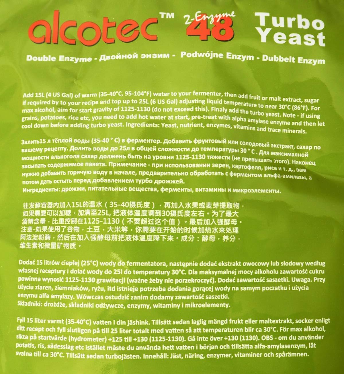 alcotec Turbo Levadura 48h ❁ especial fruta & Grano ❁ 14 ...