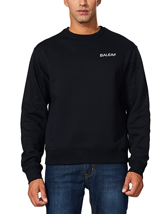 a7e9865a3c9 Amazon.com  Baleaf Men s Fleece Crewneck Sweatshirt Cotton Pullover   Clothing
