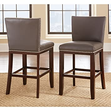 Greyson Living Tisbury Faux Leather Bar Stool (Set of 2) Grey : faux leather bar stools - islam-shia.org