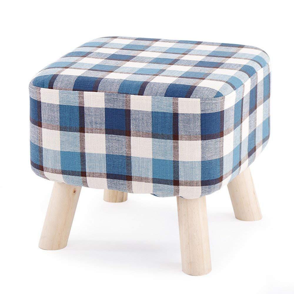 QTQZ Brisk- Stool Solid Wood Fashion Square Stool Cloth Sofa Stool Home Coffee Table Stool High Leg Stool Bench (Color: 7)