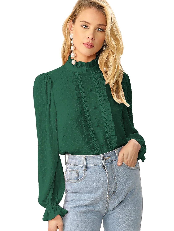 Vintage Tops & Retro Shirts, Halter Tops, Blouses Verdusa Womens Elegant Ruffle Trim Long Sleeve Buttoned Dot Jacquard Blouse $22.99 AT vintagedancer.com